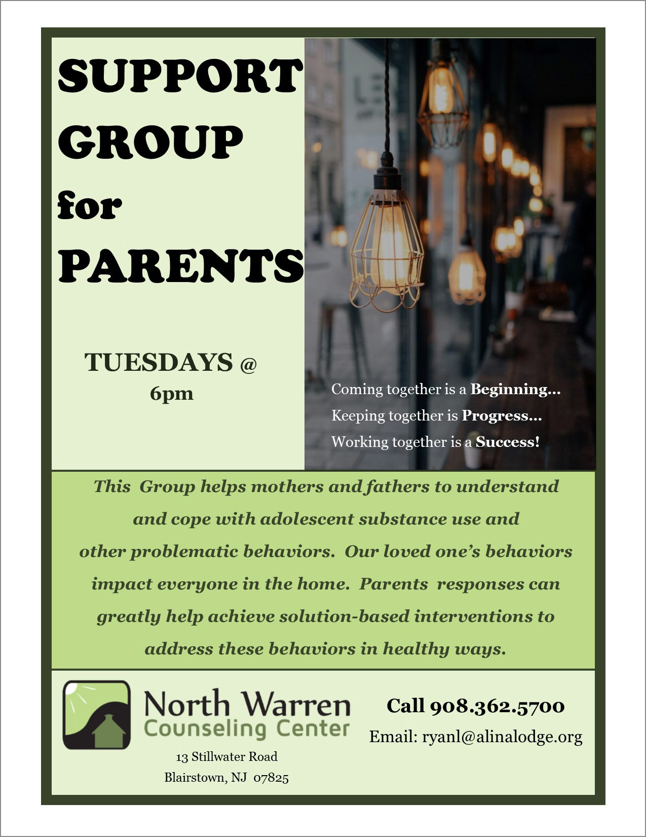 north warren counseling center parent's support group